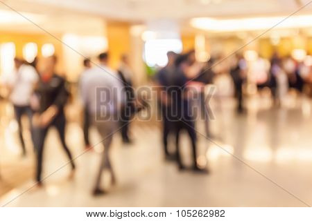 Blurred People In Grand Opening Event Hall, Business Concept.