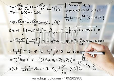Hand Draws Solution Of Equation Concept