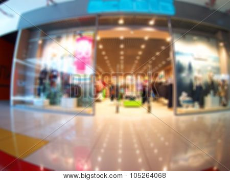 Ultrawide Blurred Image Of The Interior Shopping Mall