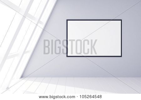 Blank Picture Frame On Grey Wall And White Wooden Floor