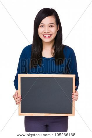 Young woman show with the chalkboard