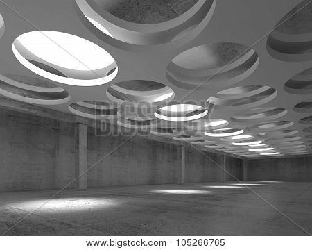 Empty Concrete Interior With Round Illuminators