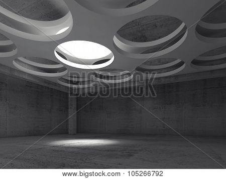 Empty Concrete Interior With Round Illumination