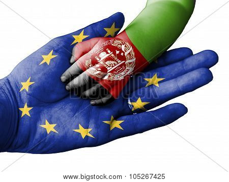Adult Man Holding A Baby Hand With European Union And Afghanistan Flags Overlaid. Isolated On White