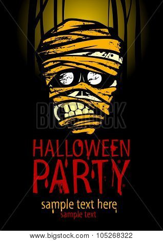 Halloween party poster with the face of the mummy and place for text, against moonlight forest backdrop.
