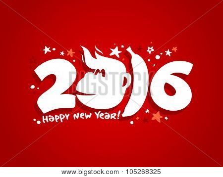 2016 new year card design with fiery monkey against red backdrop.