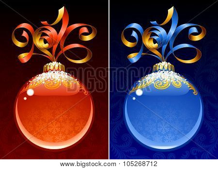 Christmas and New Year circle frame. Vector ribbon in the shape of 2016 and glass ball. Red and blue