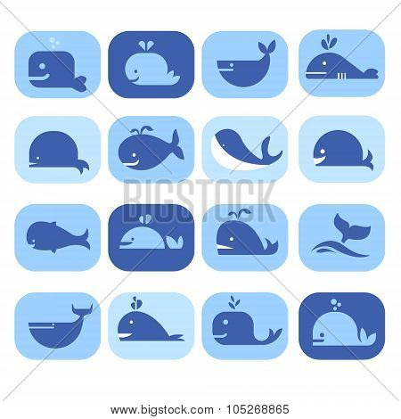 Set of Silhouettes , Dolphins, Whales in Flat Style. Vector Illustration