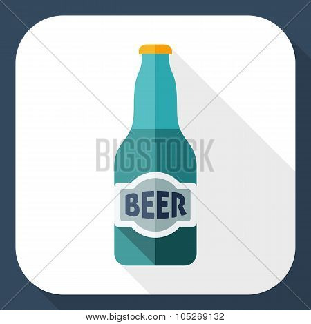 Beer Bottle Flat Icon With Long Shadow
