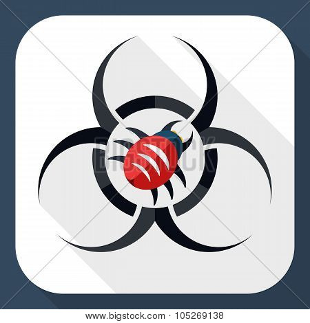 Biohazard Virus Icon With Long Shadow