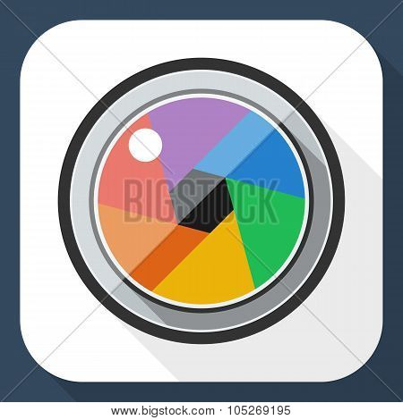 Camera Lens Flat Icon With Long Shadow