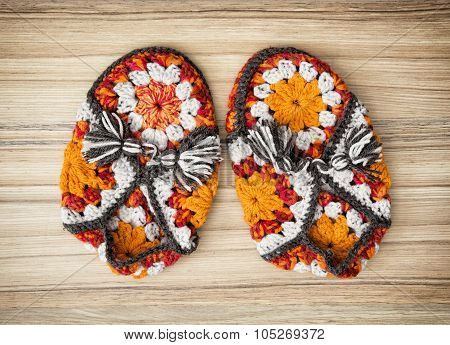 Knitted Slippers With Tassels