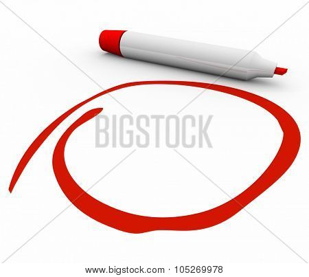 Red marker or pen circling, highlighting, stressing or undersoring your important message or text with blank copy space
