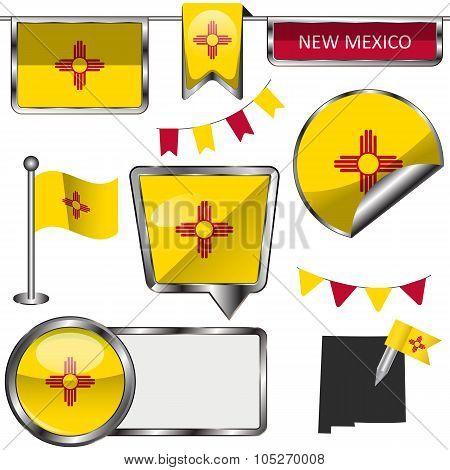Glossy Icons With Flag Of New Mexico