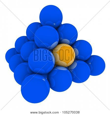 Orange ball in blue pyramid or stack of spheres to illustrate being stuck in the middle of the competition