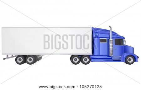 Blue cab on isolated 18 wheeler big rig Class 8 truck with blank copy space on trailer for your text or message