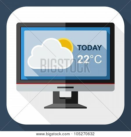 Icon Of Monitor With Weather Widget On The Screen With Long Shadow