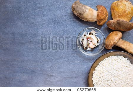 Mushrooms Boletus With Condiment And Rice