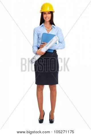 Beautiful architect woman isolated on white background.