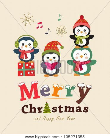Funny christmas card and poster design. Cute animals. Vector illustration.