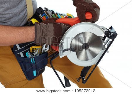 Construction Worker hands with circular saw isolated white background.