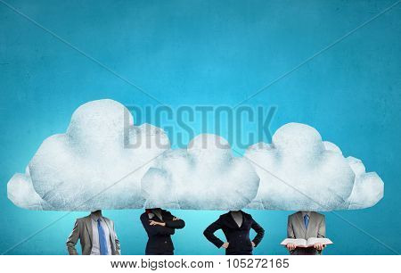 Unrecognizable businesspeople with cloud instead of head