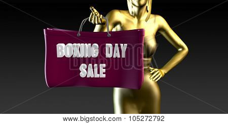 Boxing Day Sale with a Lady Holding Shopping Bags