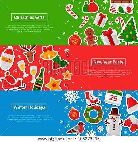 Merry Christmas Horizontal Banners Set With Flat Sticker Icons
