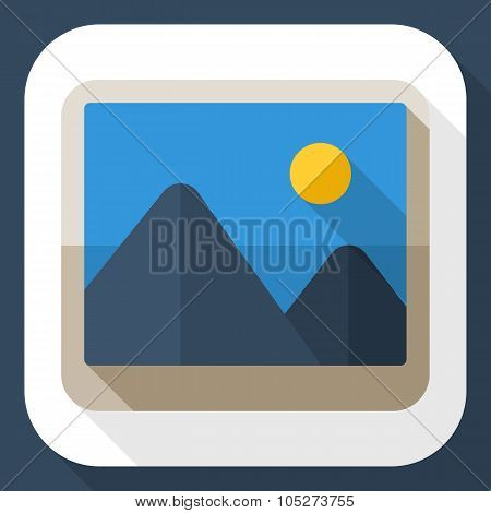 Photograph Icon With Long Shadow