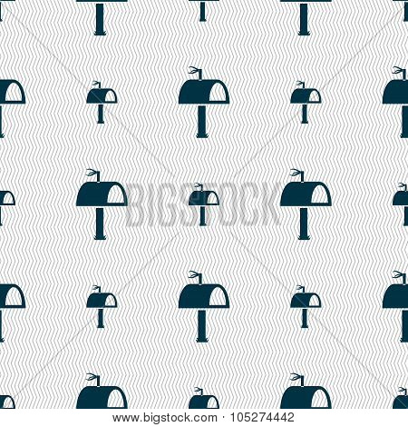 Mailbox Icon Sign. Seamless Abstract Background With Geometric Shapes.