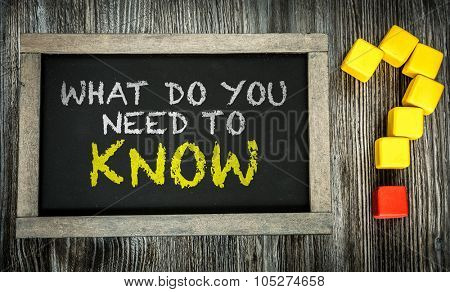 What Do You Need to Know? written on chalkboard
