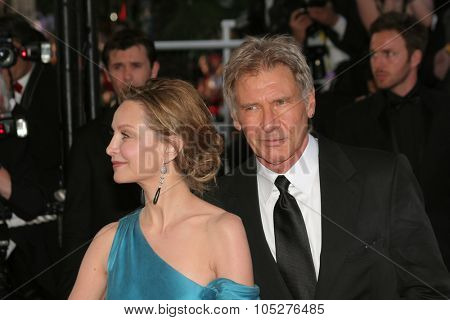 CANNES, FRANCE - MAY 18: Actors Harrison Ford and Calista Flockhart attend the Indiana Jones premiere at the Palais des Festivals during the 61st Cannes  Film Festival on May 18, 2008  France.