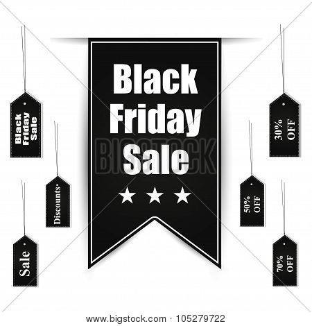 Black Friday Sale Banner Design Set With Tags