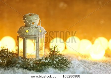 Christmas Lantern In Snow