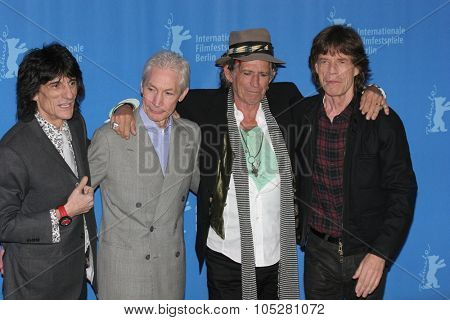 BERLIN - FEBRUARY 7: Rolling Stones singer Mick Jagger,  Keith Richards pose  at the 'Shine A Light' Photocall as part of the 58th Berlinale Film Festival  on February 7, 2008 in Berlin, Germany