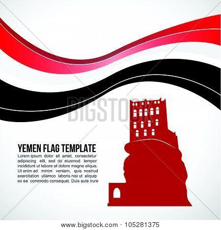 Yemen Flag wave and Dar Al-Hajar Rock Palace