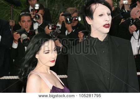 CANNES, FRANCE - MAY 20:  Dita Von Teese and musician Marilyn Manson attend the 'Selon Charlie' premiere at the Palais des Festivals during the 59  Cannes Film Festival May 20, 2006 in Cannes, France