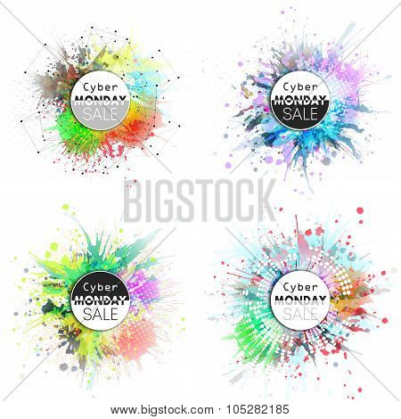 Cyber monday banners set, colorful style elements for your desing, vector illustration