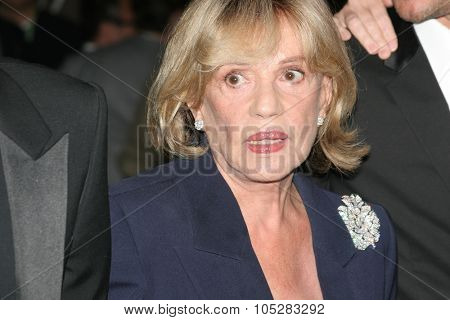 CANNES, FRANCE - MAY 16: Actress Jeanne Moreau attends a premiere  the film 'Le Temps Qui Reste' at the Palais during the 58th International Cannes Film Festival May 16, 2005 in Cannes, France