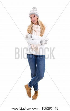 Full Length Portrait Of Young Beautiful Woman In Winter Clothes Isolated On White