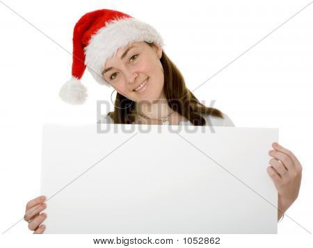 Christmas Santa Holding A Notice Board