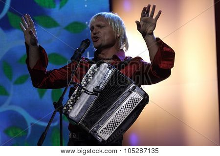 KIEV, UKRAINE - SEPT. 23: Singer Oleg Skripka  arrives at the opening , at the Opera Theatre 40th Film Festival