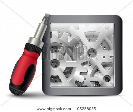 Screwdriver With Gearbox. Vector Illustration
