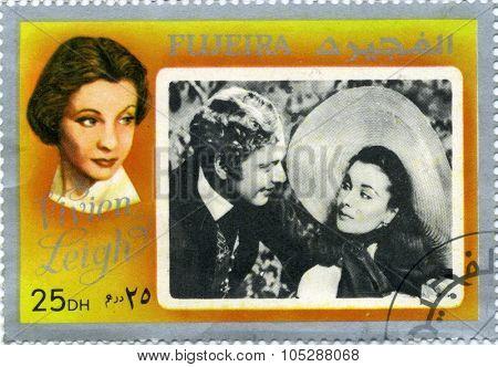 FUJEIRA - CIRCA 1972 : stamp printed in Fujeira showing ,actress Vivien Leigh,  circa 1972
