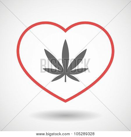 Line Heart Icon With A Marijuana Leaf
