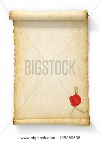 Scroll Of Old Yellowed Paper With A Wax Seal On A White Background.