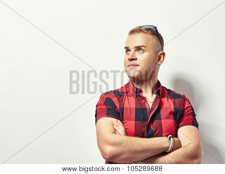 Portrait Of Young Stylish Man In Shirt