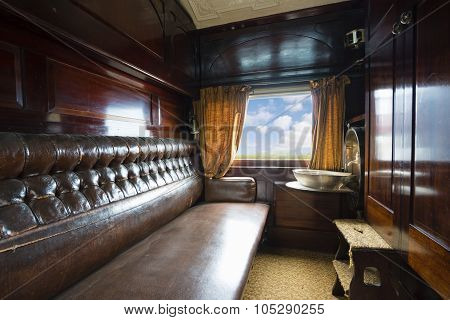 Luxurious vintage train carriage