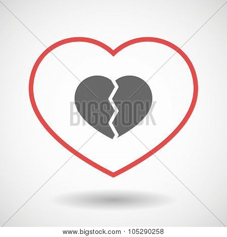 Line Heart Icon With A Broken Heart