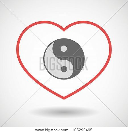 Line Heart Icon With A Ying Yang